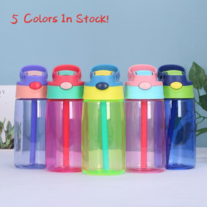 5 Color 16oz Plastic Kids Water Bottles with Duck Billed Straw Mouth 500ml BPA Free Leakproof Student Bottles PP Portable Child Sport Kettle