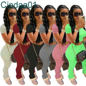 Women Tracksuits Two Piece Set Designer Outfits Short Sleeve Leggings Jogging Sportsuit Outfits Sweatshirt Stacked Pleated Pants 6 Colours