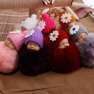 Nice Mini Sleep Baby Pop for Women Bag Toys Hanger Pluid Pom Faux Fur Pluche Key Hangers Dropping