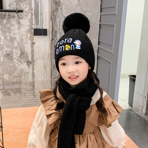 Winter Fashion Dingdang Cat Embroidery Children's Hood with Scarf Lovely Warm Letter Wool Knitted Hat