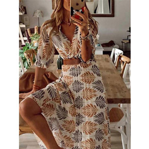 Women Dress 2021 Summer Spring New V-neck Printed Folded Holiday Long Swing Dress Women's Casual Beach Sexy Loose Ladies