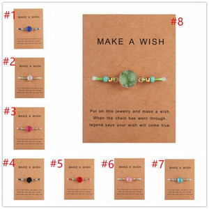 Hot Selling Handmade Druzy Resin Stone Bracelet Make a Wish Card Wax Rope Braided Bracelets Bangles With Rice Bead for Women Beach Jewelry