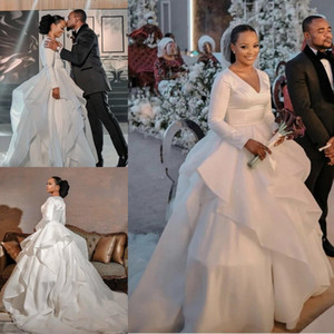 African Modorn Plus Size A-line Wedding Dresses Deep V Neck Satin Long Sleeves Court Train Satin Tiered Skirt Wedding Dress Bridal Gowns