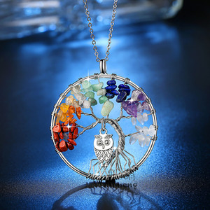 Tree of Life Owl Necklaces Chakra Quartz Natural Stones Animal Charm Pendant Link Chain Necklace Fashion Women Colorful Crystal Jewelry Gift