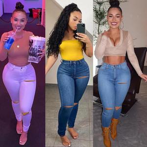 Mulheres casuais jeans primavera / verão novo lavado buracos afligidos esticar jeans magro cor sólida calças jeans calças senhoras lápis calças