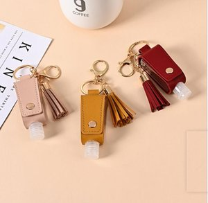 Hand Sanitizer Holder PU Leather Tassel Keychain Bottle Cover Holders Handbag Sanitizer Holder Sleeve Key Chain Bag Gift with Bottle OOC5236