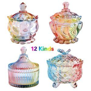 European storage jar colorful glass candy jar jewelry jam snack small sundry storage sugar platters trays dishes