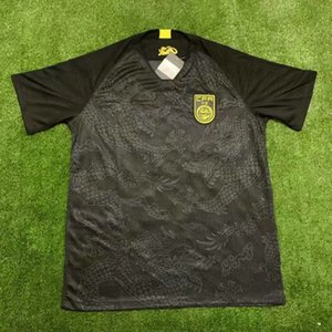 China National Football Team Jerseys de fútbol Camisetas de manga corta de manga corta para adultos de distancia de uniformes del dragón negro de Futol Tamaño S-XXL