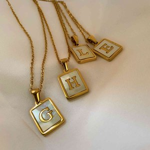 18K Gold Stainls Steel Letter A-Z Initial Necklace For Women White Rectangle Shell Alphabet Pendant Necklace