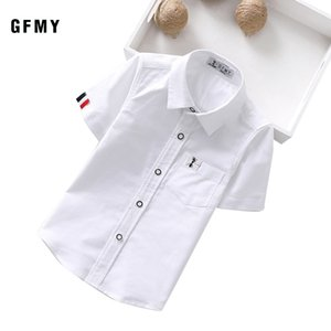GFMY Summer Hot Sale Children Shirts Casual Solid Cotton Solid Color Blue White Short-sleeved Boys Shirts For 2-14 Years 210305
