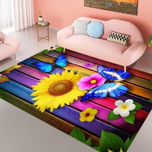 Carpets Butterfly And Flower Pattern Livingroom Carpet Bedroom Bedside Decor Children Mat Kids Room Hallway Large Rug Outdoor