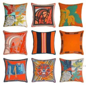 NUEVO 45 * 45 cm Serie de naranja Cubiertas de cojines Caballos Flores de impresión Funda de almohada de impresión para silla de hogar Sofá Decoración Pillowcasas DHA4234