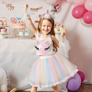 Girls Outfits Kids Suits Summer Unicorn Princess Sets Sequin T-Shirt Tank Tops Rainbow Tutu Skirts Children Clothes B3863