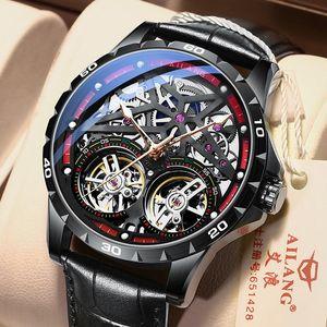 Ailang 2021 homens de luxo homens mecânicos relógio de pulso duplo tourbillon relógio automático marca top make-out máquina cronógrafo relógios