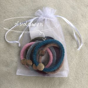 party gift colorful velvet material round metal engraved 2C elasitc band fashion hairtie classic hair rope V collection accessories use as brace