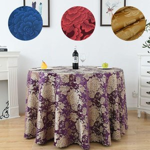 Table Cloth 10PCS Garden Style Luxurious Floral Round Tablecloth Banquet Wedding Party El Supply Shrink Proof Cover