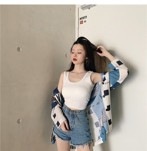 Korean version with beautiful back sling net, red and white, sports vest inside, women's short jacket outside