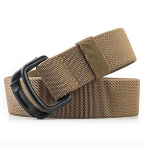 men's canvas belt metal buckle Double ring nylon military belt Army tactical belts for Men top quality Male strap black
