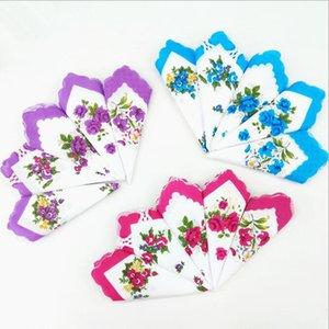 Mouchoirs Couleurs Crescent Mouchoir imprimé Coton Floral Hankie Fleur Mouchoir brodé Brodé Pochettes de poche colorées DHE5015