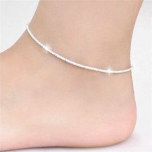 Hemp Rope Water Ripple Anklet Sliver Women Fashion Temperament Anklets Foot Ornaments Jewelry Gifts 2cy Q2