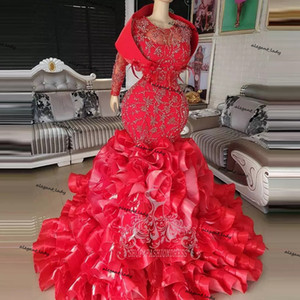 African Red Rhinestone Mermaid Wedding Dresses Lace Sparkle Crystal Lush Organza Ruffles Tiered nigerian Bridal Gowns Gonna