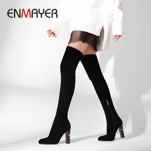 ENMAYER 2019 Sobre la rodilla Botas de invierno Mujeres se deslizan en las botas delgadas de gamuza Faux Toe Round Toe Basic Square Heel Women Shoes 34 41 Zapatos Sexy B I4YH #