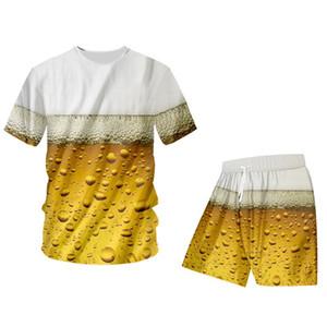 T-shirt d'été et shorts d'été masculins Cool Fashion Beer 3D imprimé hip hop rafraîchissant gilet shorts shortsuit surdimensionnaire