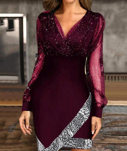 2021 Europe and the United States new mesh splicing character dress fashion nightclub skirt with sequins