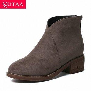 Qutaa 2020 Novo Outono Outono Inverno Bando This Middle Heel All Match Women Shoes Redondo Toe Zipper Casual tornozelo Botas Grande Tamanho 34 43 Motorcyc Y4nn #
