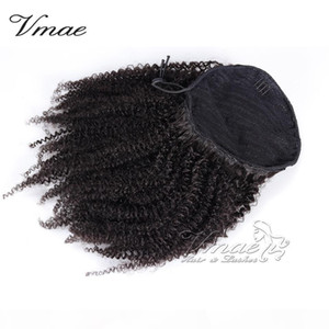 VMAE Human afro kinky curly Ponytail Hair 100g 3C 4A 4B 4C Natural Hair horsetail tight hole Clip In Drawstring Ponytails Hair Extensions