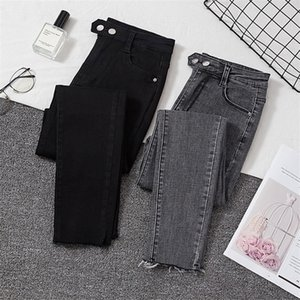 Woman skinny jeans high waist elastic show slim denim pants for woman autumn spring casual jeans female T200423
