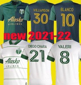 새로운 2021 2022 MLS 포틀랜드 목재 홈 축구 유니폼 21 22 Blanco Chara Valentin Valeri Men Football Jersey Shirts
