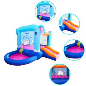Mini Fun in Garden Supplies Small Inflatable Elephant Bouncer Slide with Ball Pit for Kids Jumping Jumper Castle Combo Animal Elephants Bounce House Party Play Games