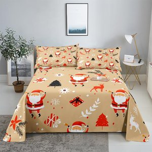 Sheets & Sets Lovely Christmas Bedding Sheet Home Digital Printing Polyester Bed Flat With Case Print