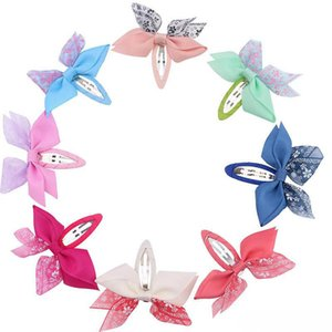 Chiffon Hair Bows Girls Hair Clips 2.6Inch Bowknot Ribbon Kids Barrettes Sweet Baby BB Clip Children Hair Accessories