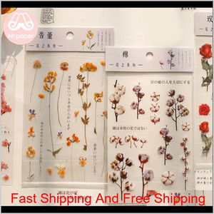 Mr.Paper 12 Designs Natural Daisy Clover Japanese Words Stickers Transparent Pet Material Flowers Leaves Plants Deco Stickers Sweet07 Fw1Kg