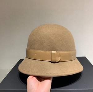 Camel Wool Cloche Hat with Leather Band Winter Bucket Hats Festival Flat Caps Fashion Casual Cap for Women