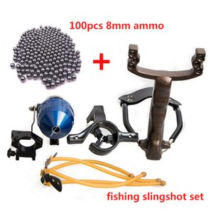 Fish Shooting Slingshot Set Fish Shooting Dart Rubber Band Fishing Wheel Flashlight Holder Fish Shooting Precision Slingshot