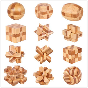 Wooden chain lock 12 Style IQ Brain Teaser Kong Ming Lock 3D Wooden Interlocking Burr Puzzles Game Toy Bamboo Small Size ,kids toys