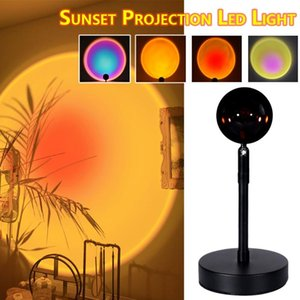Home Decoration Sunset Projection Led Night Light Rainbow Atmosphere Lamp Creative Background Wall Floor Projector Lamp