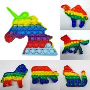 Fidget Brinquedos Bubble Pop Dimple Rainbow Quebra-cabeça De Silicone Descompressão Anti Stress Relief Bola de Brinquedo Engraçado 13 Dos Desenhos Animados Animal Formas H31SJEB
