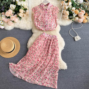 2021 Elegant Women Two Piece Set New Summer Sleeveless Blouse Tops and Pleats Long Skirts Outfit Ladies Office Pink Suits Clothes Osxc