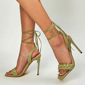 2021 Summer INS Fashion Women Sandals 11cm Fetish High Heels Lace Up Sandals Stiletto Green Stripper Heels Sandles Big Size Shoe