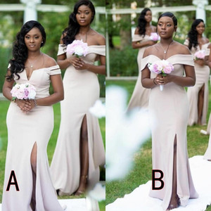 Sexy New African Mermaid Bridesmaid Dresses Off Shoulder Floor Length High Side Split Maid Of Honor Dress Wedding Party Gowns Robes