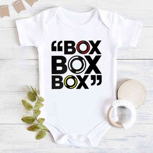 "Newborn Bodysuit Short Sleeve Jumpsuit ""box Box Box"" Formula 1 Tyre Compound Design Baby Boy Clothes Simple Toddler Shirt Rompe"