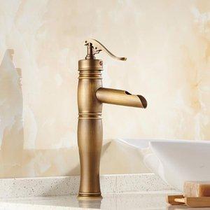 Vintage rétro antique laiton simple poignée un seul trou salle de bain bassins lavabo robinet mélangeur eau plate-forme montée man006