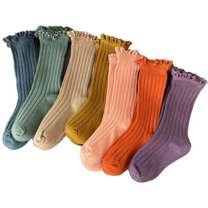 Girls Socks Baby Socks Lace Cotton Kids Knit Knee High Socks Spring Autumn Girls Accessories Casual Children Clothes 1-8Y B4107