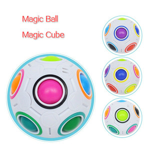 Rainbow Ball Puzzles Spheric Magic Cube Toy Adult Kids Plastic Creative Football Learning Educational Toys Gifts For Children