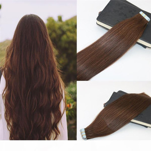 Tape in Extensions Human Hair #4 Dark Brown 100% Skin Weft Invisible Hair Extensions Double Drawn Seamless Virgin Tape on Extensions