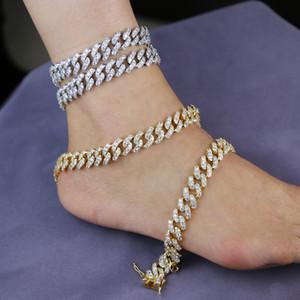 New arrived hip hop Foot Jewelry Ankle Bracelet For Women Yellow Gold Color Cuban Link Chain Ribbon Anklet Bracelet Barefoot LJ201006